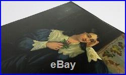 FOLK ART PAINTING SAILOR'S SHIP CAPTAIN'S WIFE Antique 19th Century