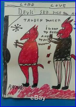 FOUR DEVILS! Outsider Abstract Folk Art Blues R A MILLER
