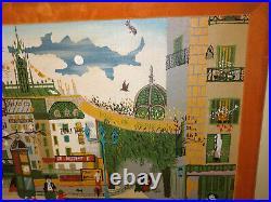FWA 1950's NAIVE Naif Primitive Paris Oil Painting Aft Michel Delacroix Folk Art