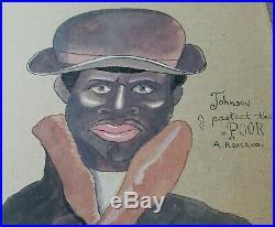 Fabulous Folk Art Watercolor Portrait by A. Romano