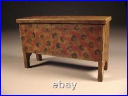 Fancy Paint Decorated Miniature Blanket Document Box Folk Art