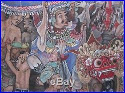 Fine Detailed 1970 Bali Ubud Painting Tropical Folk Art Ceremonial Figures Vntg