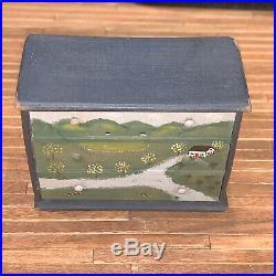 Folk Art Artisan Hand Painted Dresser Night Stand 1/12 Scale Dollhouse Miniature