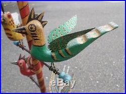 Folk Art Bird Tree, hand-carved and painted by H. Michener
