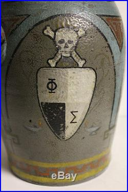 Folk Art Frat Whiskey Moonshine Jug Pottery Painted Skull Antique Crock Unique