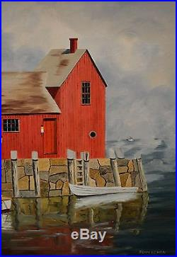 Folk Art Harbor Oil Painting With Boats Framed & Signed John Echon NICE