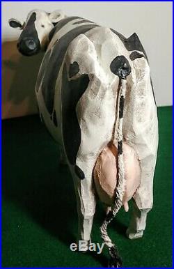 Folk Art Holstein Milk Cow Larry Koosed 2008 Hand Carved & Painted