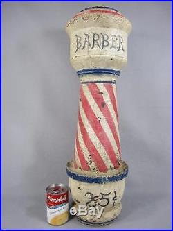 Folk Art Maine Barber Shop Pole Trade Sign Lighthouse Shaped Painted Wood