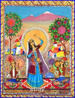 Folk Art Painting ARMENIAN DANCE music Kamancheh/ Ghaval- RUSSIAN ARMENIA Artist