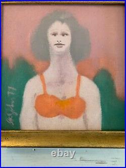 Folk Art Primitive Painting Portrait Woman Girl Bathing Suit Bra Signed Framed