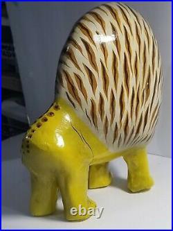 Folk Art figurine Paper Mache Lion Mexico Artist Fernandez MCM 7 hand painted \