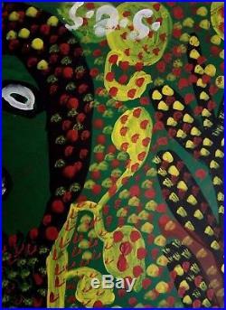 Folk Haitian Painting Famous Saint Jacques Smith Haiti Art Brut Naif 24x24 Haiti