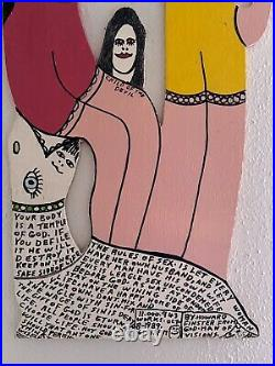 Folk Outsider Art Howard Finster Original Painting On Wood Devil, Wife & Child
