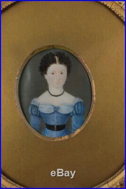 Folk Portrait Miniature c1830 American Painting