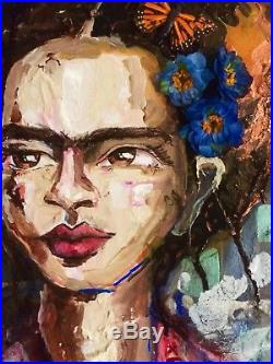 Frida Kahlo Original Painting Mexican Folk Art Day of the Dead Portrait Spring