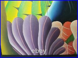 Fritz Philemon Original Haitian Black Cat Panther Vibrant Jungle Painting