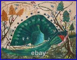 GESNER ABELARD-Haitian Folk Artist-Original Signed Acrylic-Peacocks & Trees