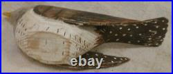Good Vintage Folk Art Carved and Brown Painted Songbird