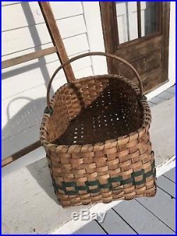 Great Old Antique Split Ash Painted Country Apple Basket Folk Art