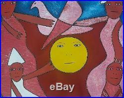 HAITIAN ART PAINTING LEVOY EXIL HAITI SUN FIGURES SPIRITS ABSTRACT FOLK 30x40