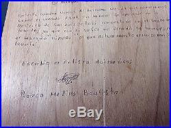 HUICHOL YARN PAINTING Brother Blue Deer Signed Art Mexican Folk Art Bautista