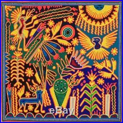HUICHOL YARN PAINTING Original Mexican Folk Art 24 x 24