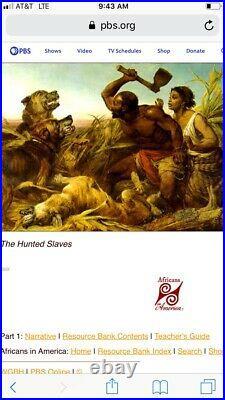 HUNTED SLAVES 1861 Oil PAINTING Black Lives Americana FOLK ART Civil War