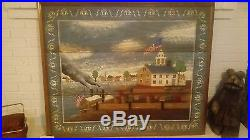 HUNTINGTON Folk Art Painting, Canvas Early Americana Colony On Water