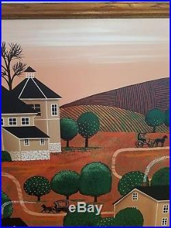 H. Huntington Painting Canvas-Folk Art-Early Americana Art Signed Framed 38x46