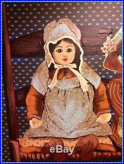H. Huntington SIGNED Framed Folk Art DOLL Original Oil Painting on 38x46 Canvas