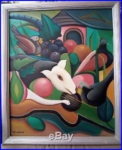 Haitian Fine Art Painting Fritzner Alphonse 20X24 Haiti Folk Dog Bird Vintage