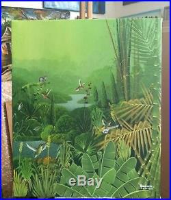 Haitian Folk Art Painting By Famous Albott Bonhomme Haiti Forest Hummingbirds