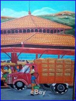 Haitian Folk Art Painting by Rony Leonidas Cap Haitien Market scene 36X24 rare