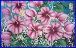 Haitian Folk art painting famous artist Aland Estime Birds Flowers Haiti 20X24