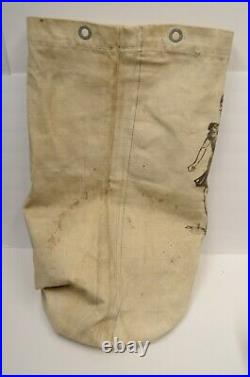 Hand painted Pin-Up Trench Folk Art Military Canvas Duffle Bag WWII Navy Vintage