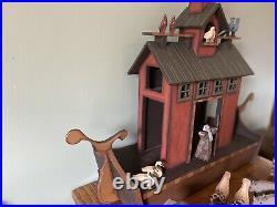 Heirloom Wooden NOAH'S ARK 15 pairs Animals FOLK ART Hand Carved Painted Set