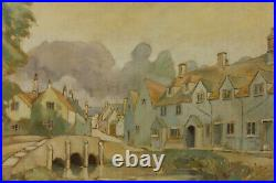 Henry E. Foster (1921-2010) Mid 20th Century Oil, Village Street Scene