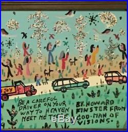 Howard Finster Be a Careful Driver painting 1989 on masonite Folk Art. Framed