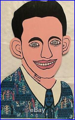 Howard Finster Rare HOWARD IN 1944 self portrait 1988. Hand Painted Folk Art