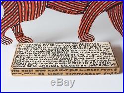 Howard Finster Signed Folk Art Cheetah Wood Cutout Painting 1991
