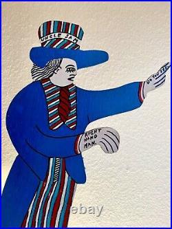 Howard Finster's'UNCLE SAM' Original Paint on Wood. 6/4/91. Signed & Numbered