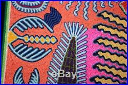 Huichol Yarn Painting framed 26 Mexican Folk Art Sierra Madre Mountains vintage