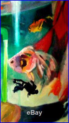 Hunt Slonem Art Work Aquarium Oil on Canvas, Nice theme, extremely rare folks