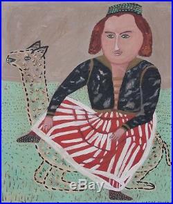 JUSTINE FULLER-NY Folk/Naive Arist-Original Signed Oil Painting-Girl and Llama