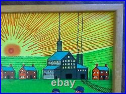Jack Savitsky Original Painting Framed Miners Coal Car Outsider Folk Art 25x17