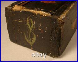 Jacob Weber (1772-1865) Pennsylvania pine paint decorated slide lid box Folk Art