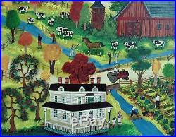 Janet Munro Folk Art Oil Painting Fishing on Oaks Creek Otsego County, NY Signed