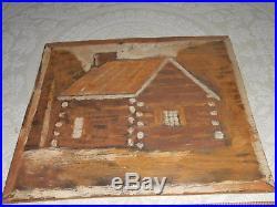 Jimmy Lee Sudduth Folk Art Painting Alabama 1970's Log Cabin