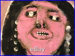 Jimmy Lee Sudduth WOMAN Mud Painting Folk Outsider Art