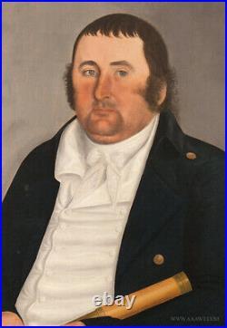 John Brewster Jr. Pair of American Folk Art portraits Circa 1800, (Sea Captain)